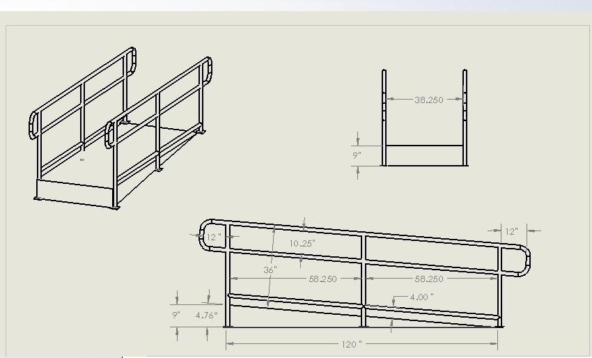 Handrail and ramp drawing | 3D CAD Model Library | GrabCAD