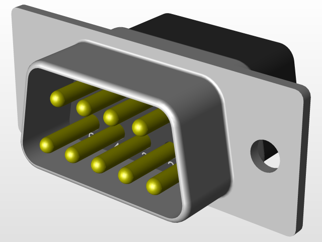 DB9 Male Connector | 3D CAD Model Library | GrabCAD
