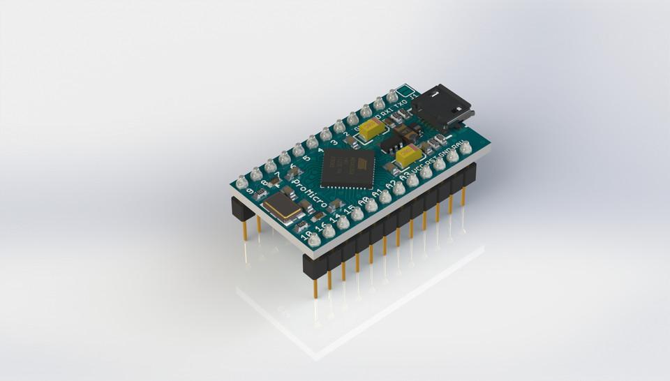Arduino pro micro d cad model library grabcad