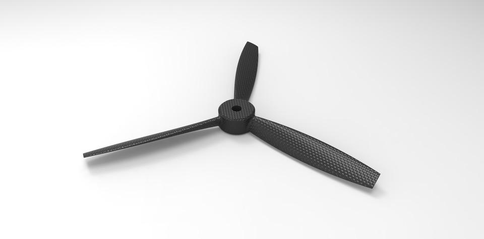 3 Blade Propeller 3d Cad Model Library Grabcad
