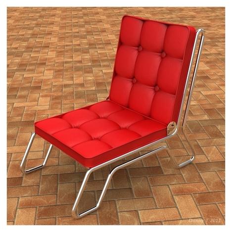 60's Retro Button Tufted Chair