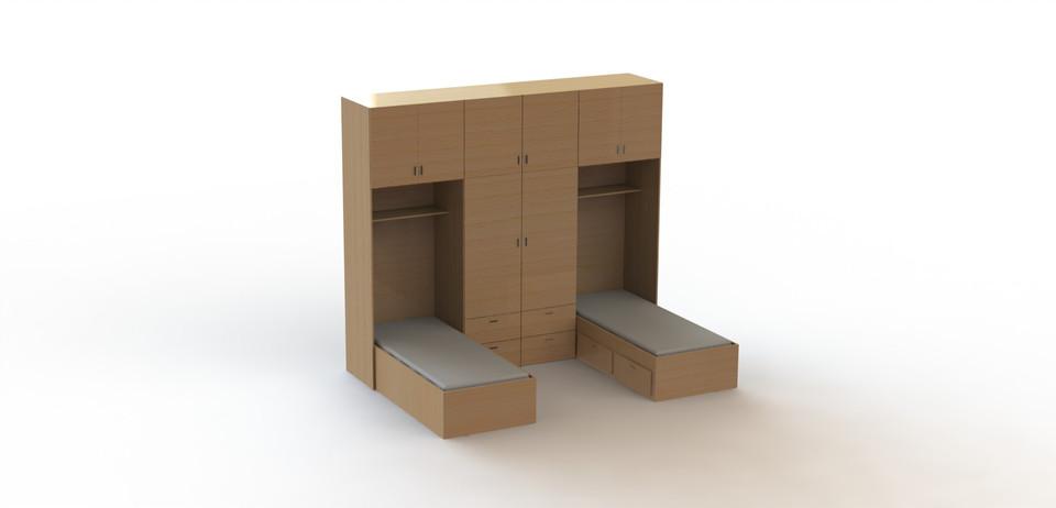 Guarda roupas com 2 camas planejado solidworks 3d cad for Cama 3d autocad