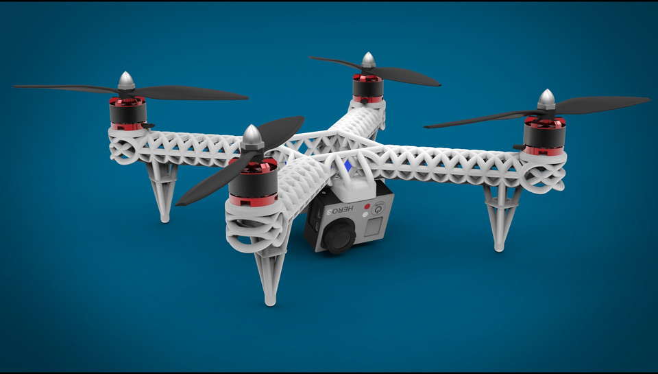 image about 3d Printable Drone called 3D Posted Quadcopter 3D CAD Type Library GrabCAD