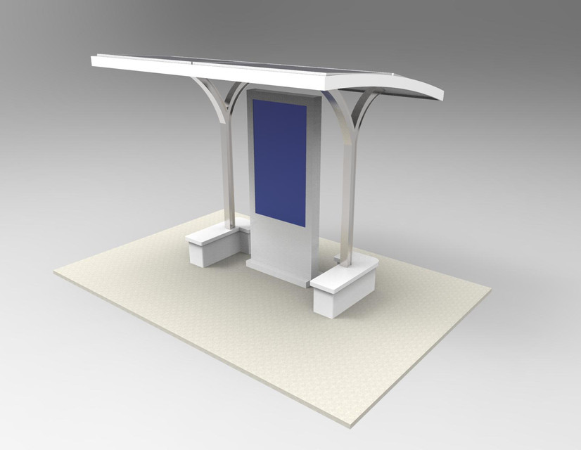 Koisk Design with Solar Panel and Bench | 3D CAD Model Library | GrabCAD