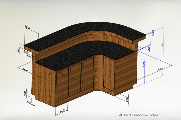 Reception table solidworks 3d cad model grabcad for Table design 3d model