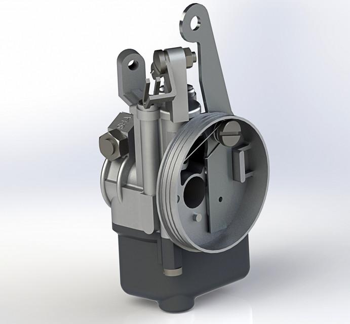 Dellorto SHA 12 12 Carburetor   3D CAD Model Library   GrabCAD