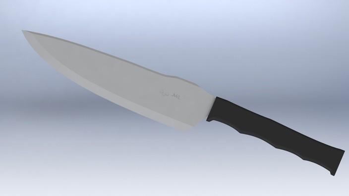 tactical kitchen chef s knife stl solidworks 3d cad
