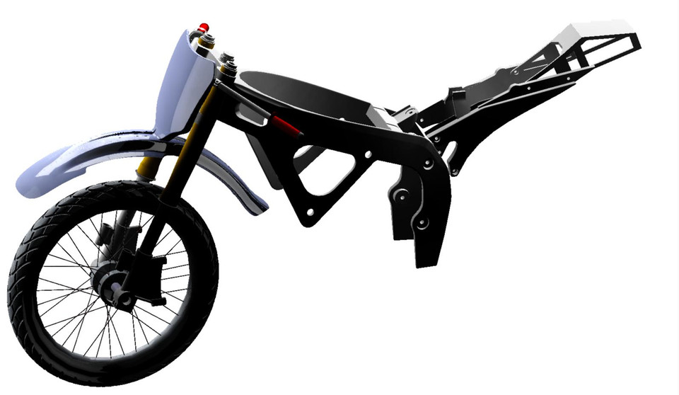 dirt bike frame and other features step iges 3d cad model grabcad - Dirt Bike Frame