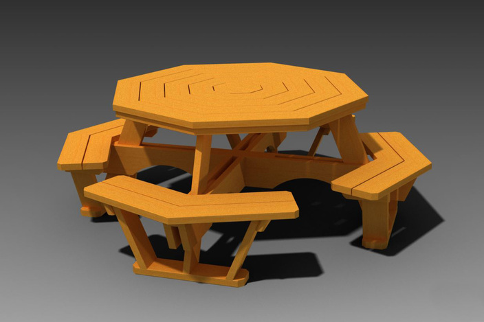 Octagon Picnic Table With Plans - Autodesk Inventor, STEP / IGES ...
