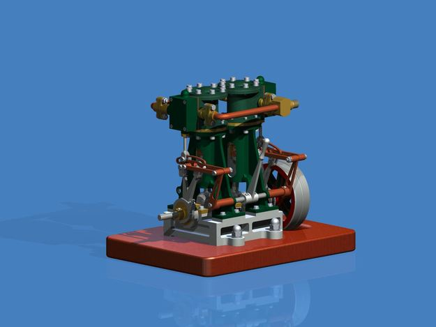 Vertical Tween Steam Engine with reverse gear