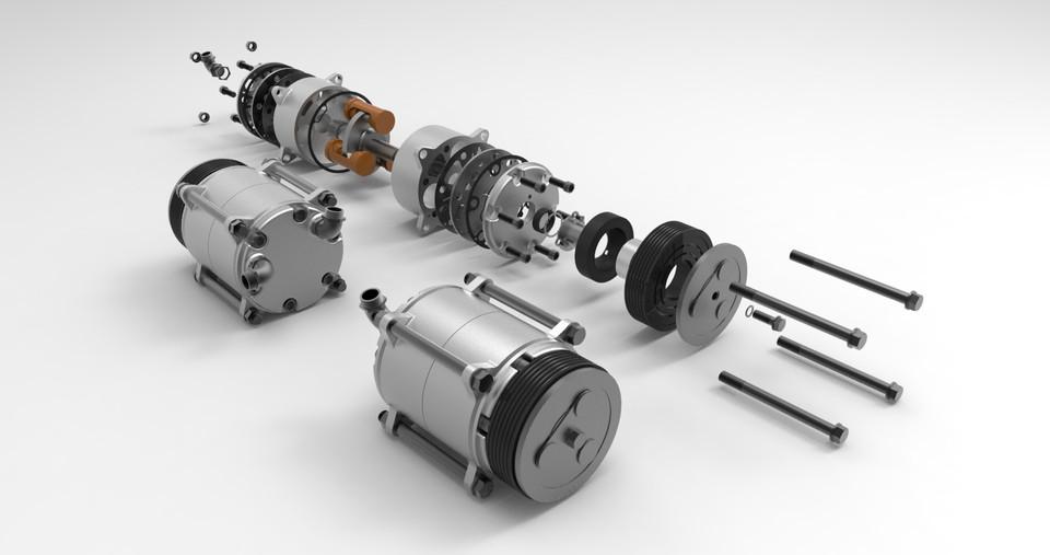 Car A/C compressor | 3D CAD Model Library | GrabCAD