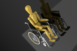 Human model with wheelchair