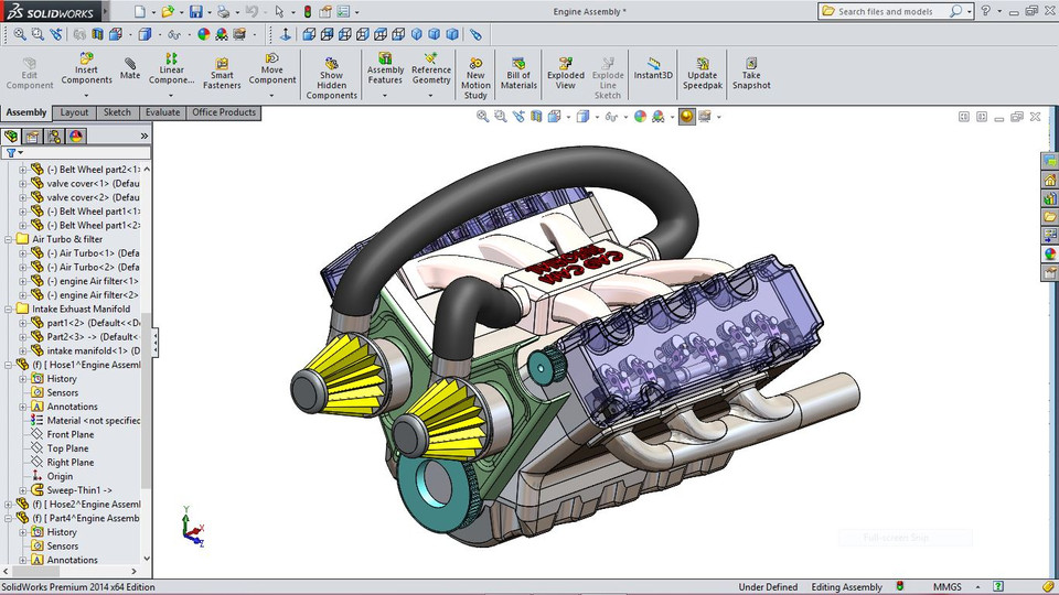 Car Engine | 3D CAD Model Library | GrabCAD