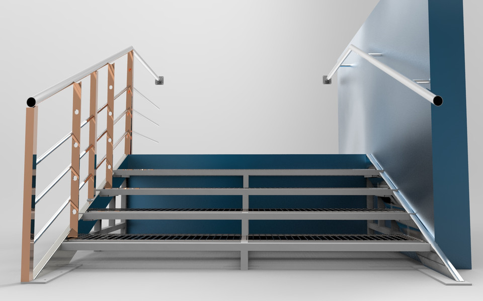 Industrial Metal Staircase | 3D CAD Model Library | GrabCAD