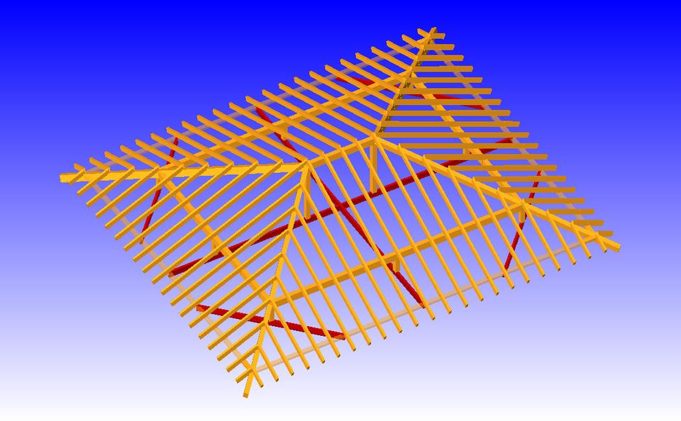 Tejado a cuatro aguas autocad 3d cad model grabcad for Tejados de madera a cuatro aguas