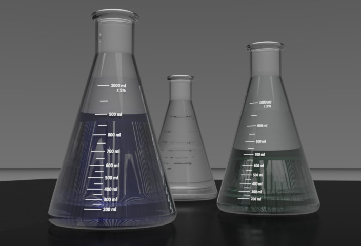 Glass Erlenmeyer Flask (Conical Flask) 1000mL | 3D CAD Model