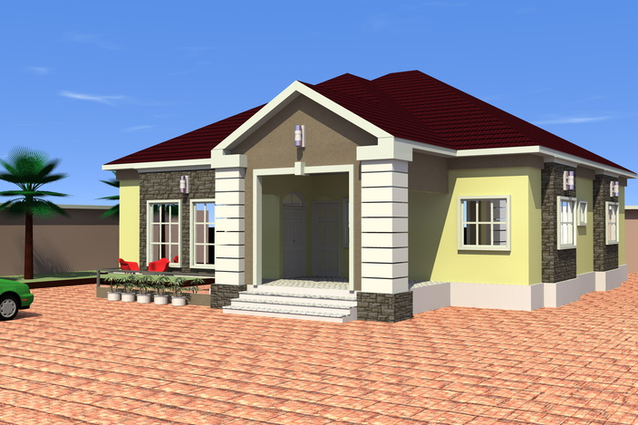 4 bedroom bungalow 3d cad model grabcad for Four bedroom bungalow