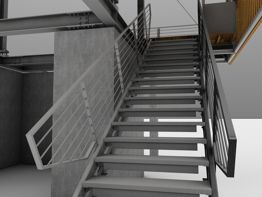 Steel Stairs | 3D CAD Model Library | GrabCAD