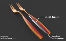 Fork spoon + knife Split-able arrangement