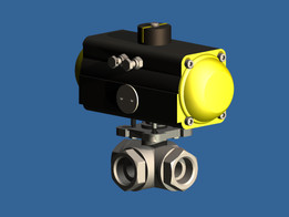 1 inch 3 way ball valve with pneumatic actuator