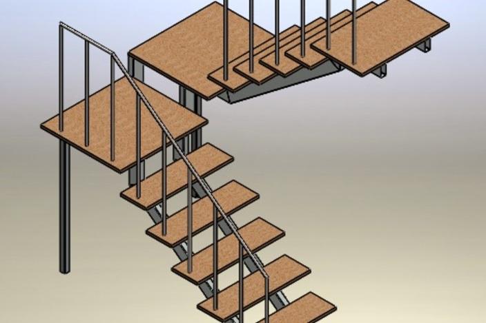 Escalera met lica solidworks 3d cad model grabcad - Escalera metalica prefabricada ...