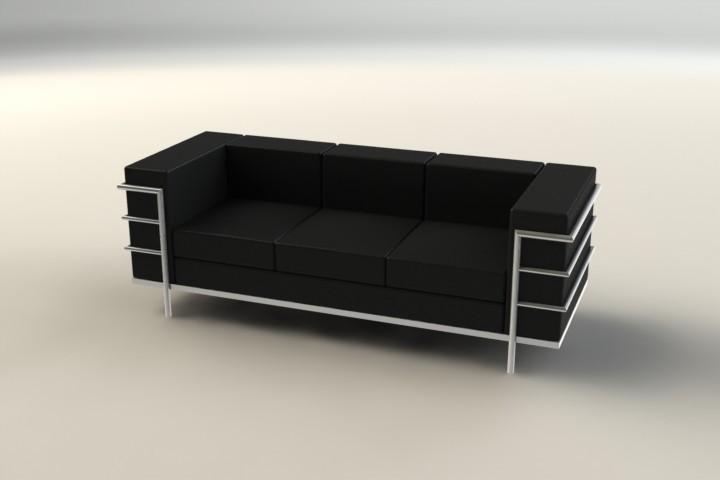 Le Corbusier Sofa   3D CAD Model Library   GrabCAD