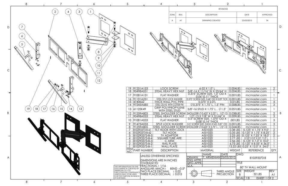 TV Wall Mount | 3D CAD Model Library | GrabCAD