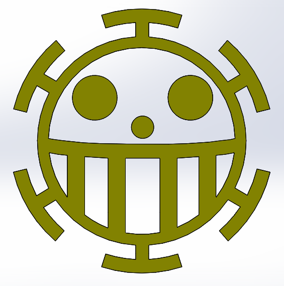 one piece logo 3d cad model library grabcad
