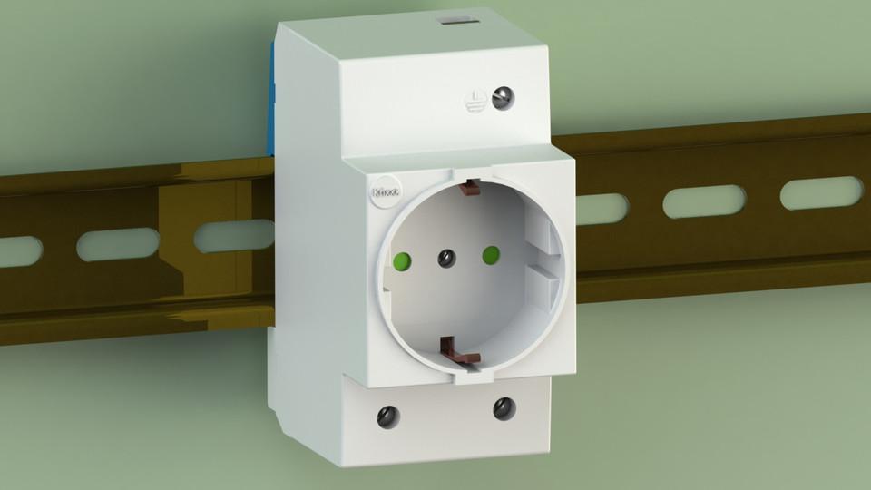 Din Rail Mount Socket 3d Cad Model Library Grabcad