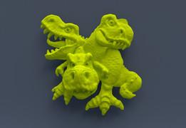 Le tyrannosaure jaune fluo à  trois têtes