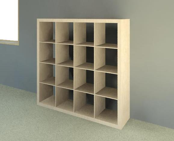 ikea expedit 4x4 bookcase autocad autodesk revit 3d cad model grabcad. Black Bedroom Furniture Sets. Home Design Ideas