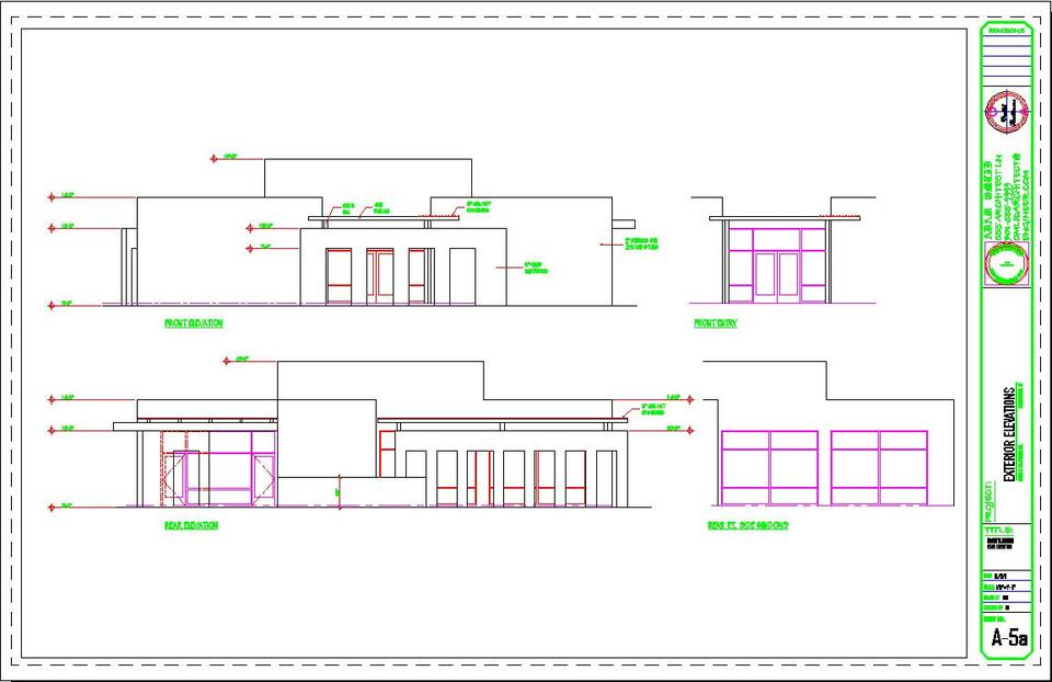 Front Elevation Autocad File : Office front and rear elevations d cad model library