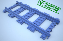Lego train track, straight w support