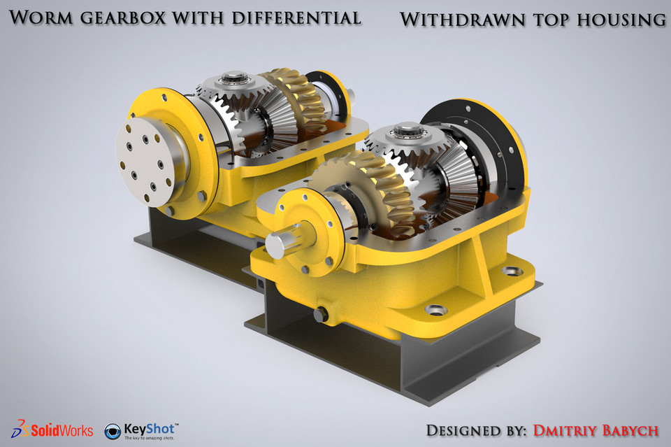 Worm gearbox with differential (+ animation & speed render) | 3D CAD