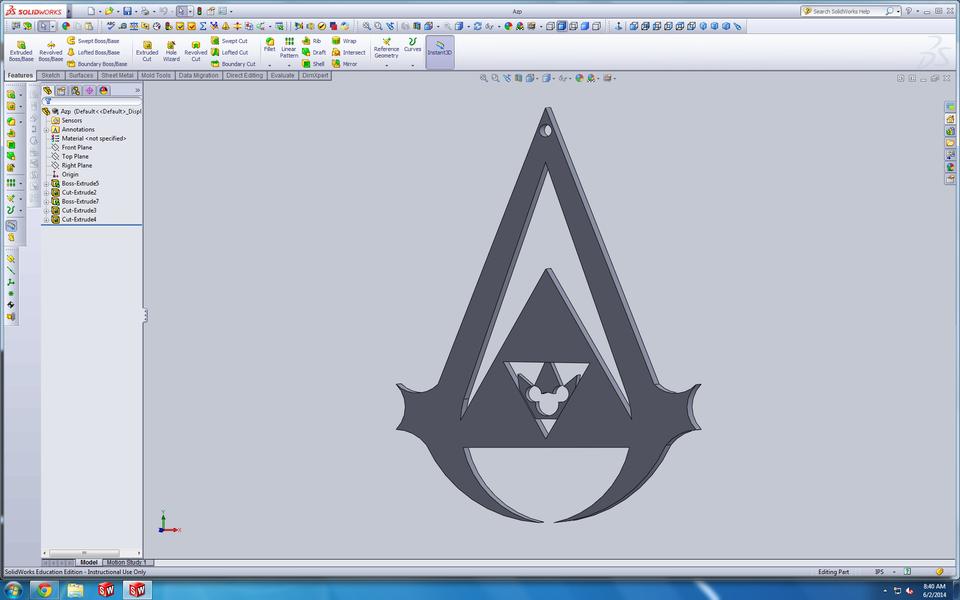 Assassin S Creed Zelda Kingdom Hearts Logo Pendent 3d Cad Model