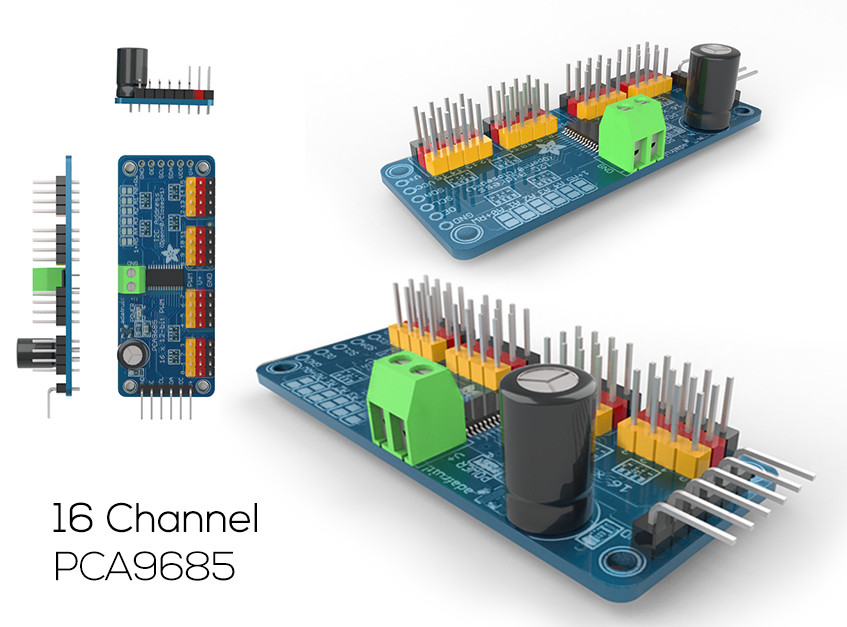 16 channel PCA9685 | 3D CAD Model Library | GrabCAD