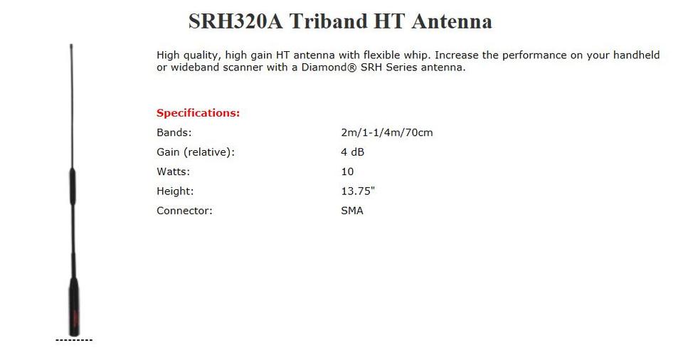 Diamond TriBand 2 m VHF, 1 25 m VHF, & 70 cm UHF Amateur