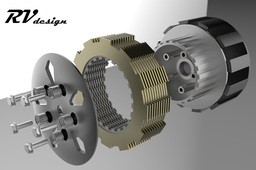 Multidisk motorcycle clutch