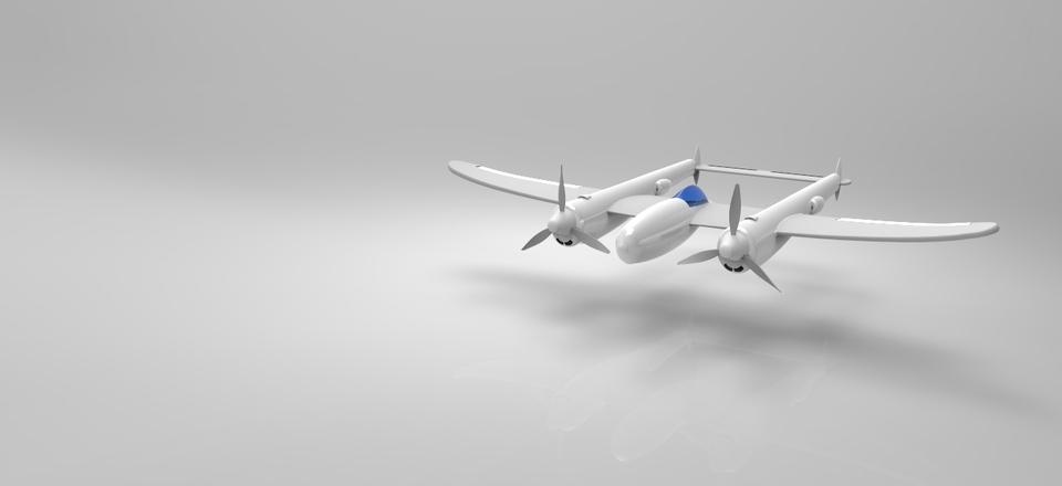 P38 Lighting WW2 propeller fighter plane   3D CAD Model