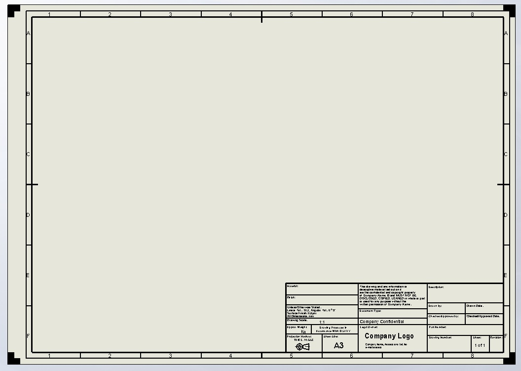 Border architectural for a4 paper joy studio design for Solidworks drawing template tutorial