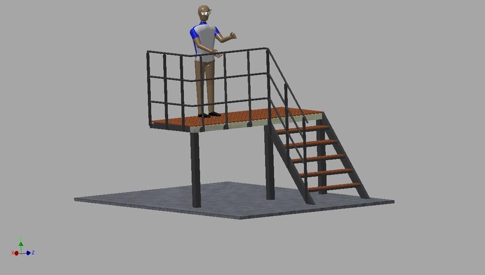 Superior Stairs With Platform   STEP / IGES   3D CAD Model   GrabCAD