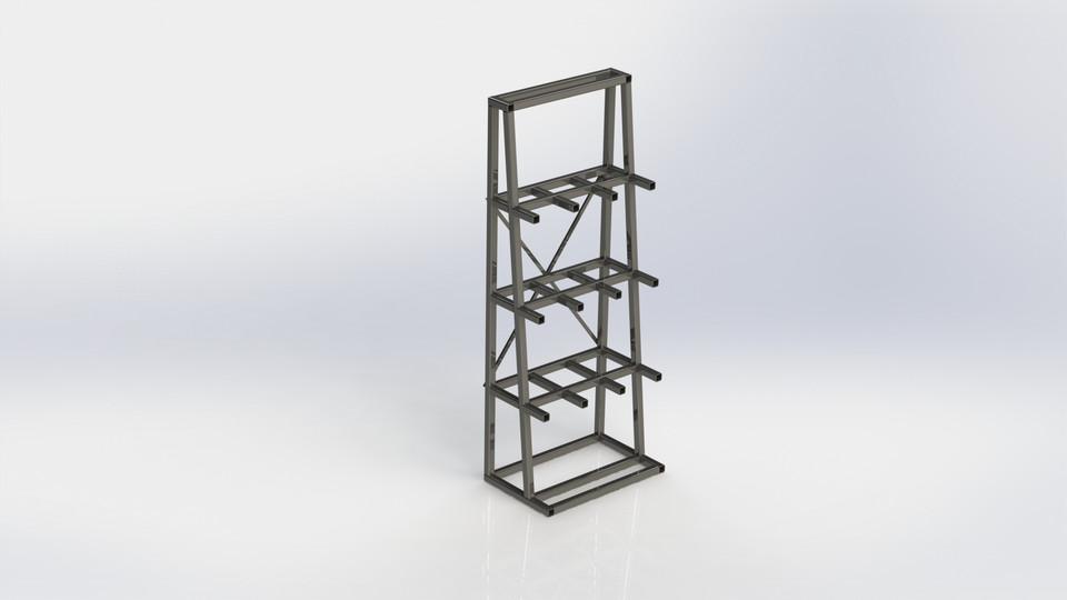 Metal Vertical Storage Rack | 3D CAD Model Library | GrabCAD