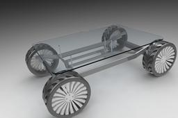 Chassis design type tea table for people mad about automobiles.