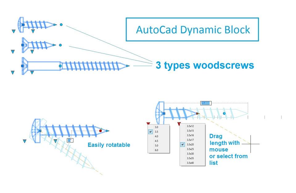 Autocad 2D Dynamic block wood screw   3D CAD Model Library   GrabCAD