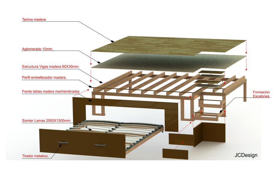 Bed under floor cama bajo el suelo solidworks 3d cad for Cama 3d autocad