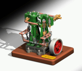 Vertical Twin Steam Engine with Reverse Gear