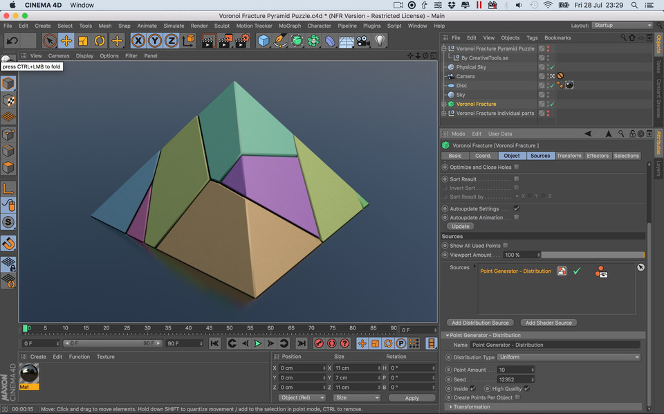 Voronoi Fracture Print-in-Place Pyramid Puzzle | 3D CAD