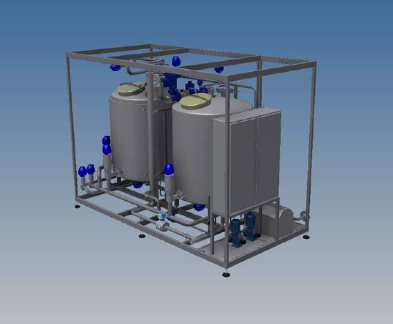 CIP set, 1000 litre, dual tank, single stream