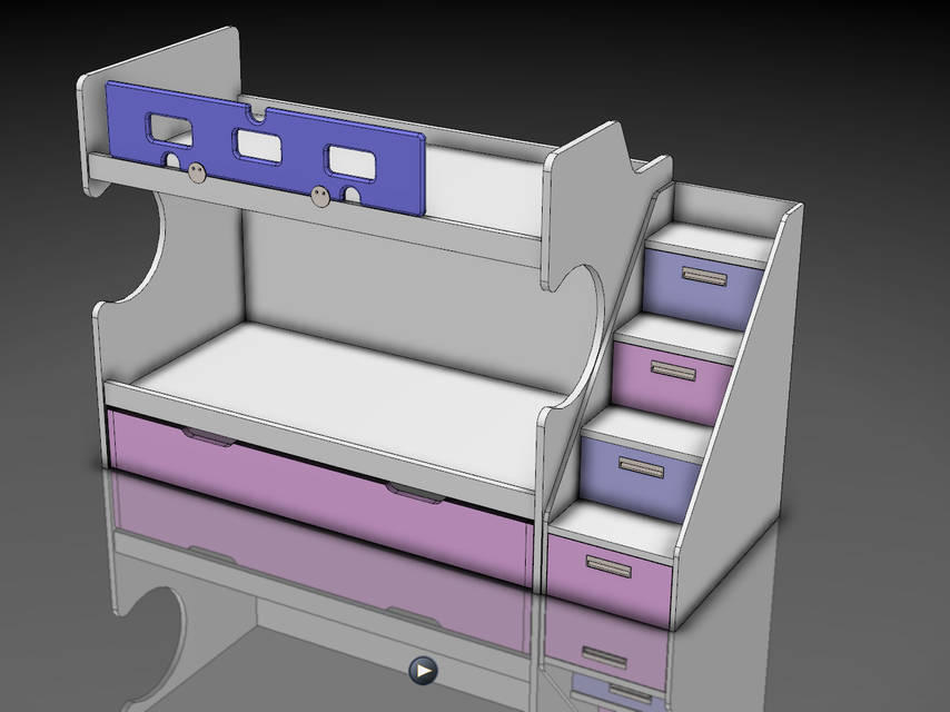 Bunk Bed Litera Doble Con Cama Nido 3d Cad Model Library Grabcad