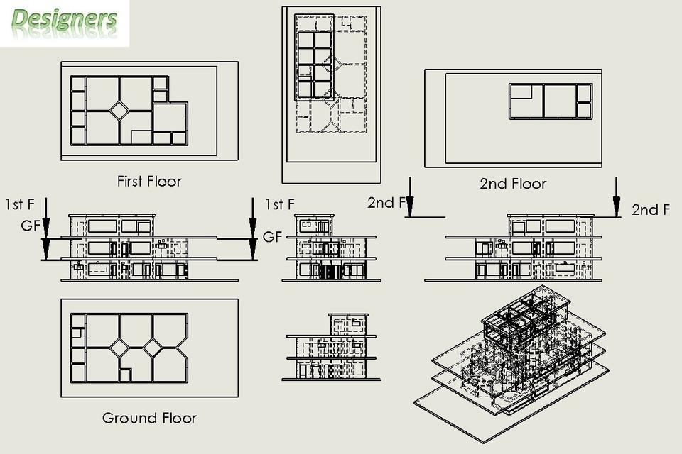 4 500 sq ft 500 sq yard house plan 3d cad model library grabcad. Black Bedroom Furniture Sets. Home Design Ideas